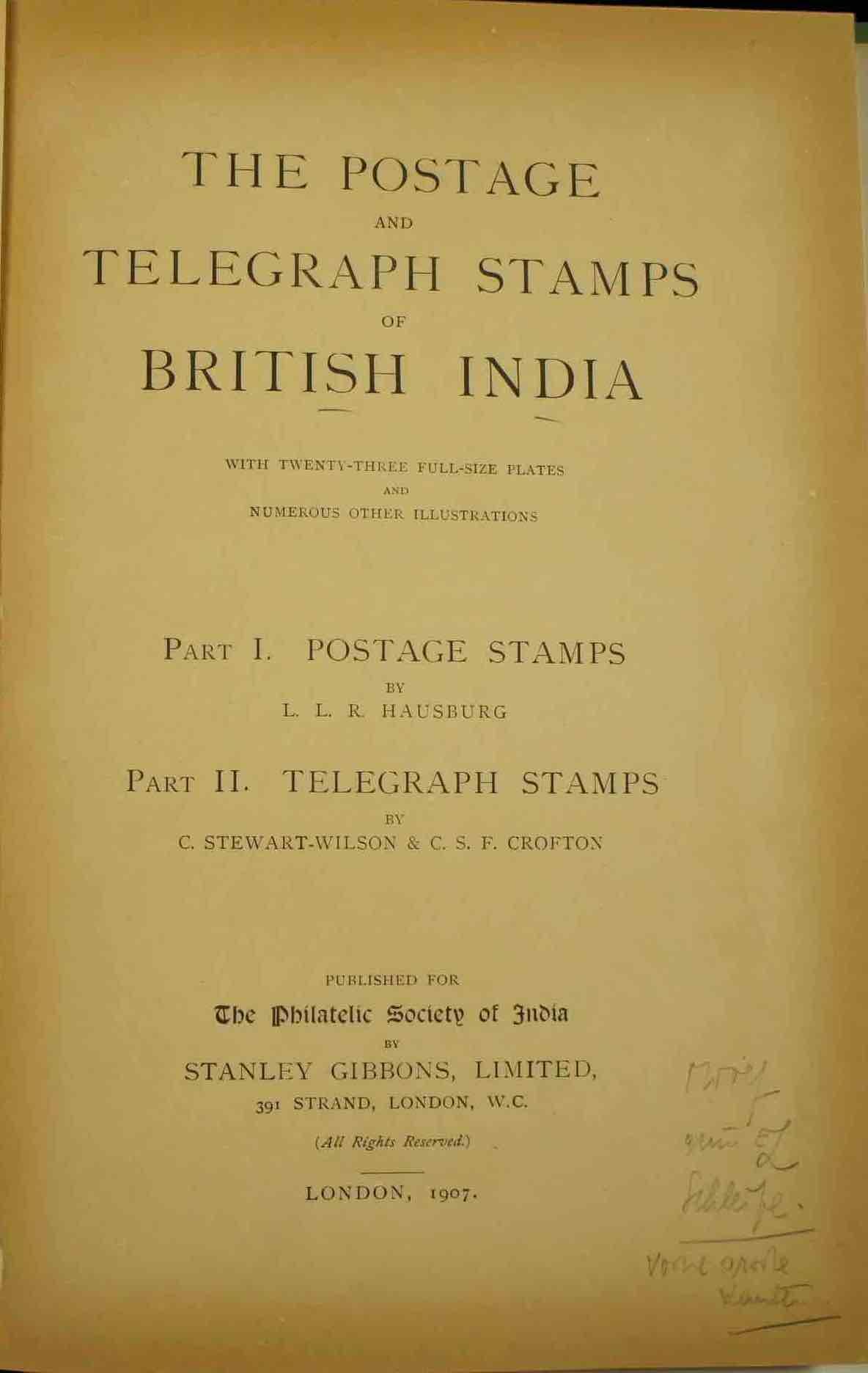 Classics Postage Telegraph Stamps British India Hausberg Title