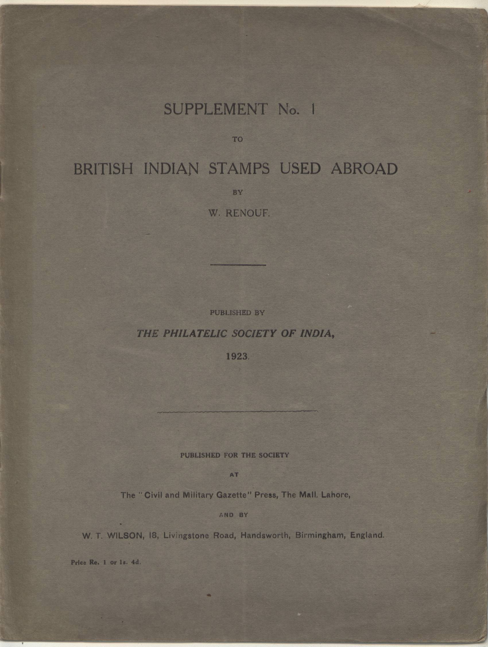 India Used Abroad W. Renouf Supplement