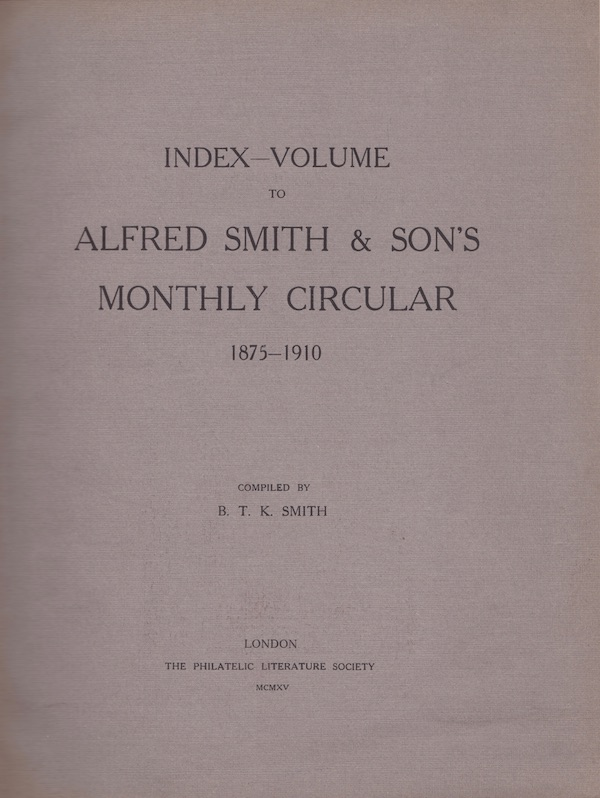 Journal of the Philatelic Literature Society 1915 Alfred Smith Index