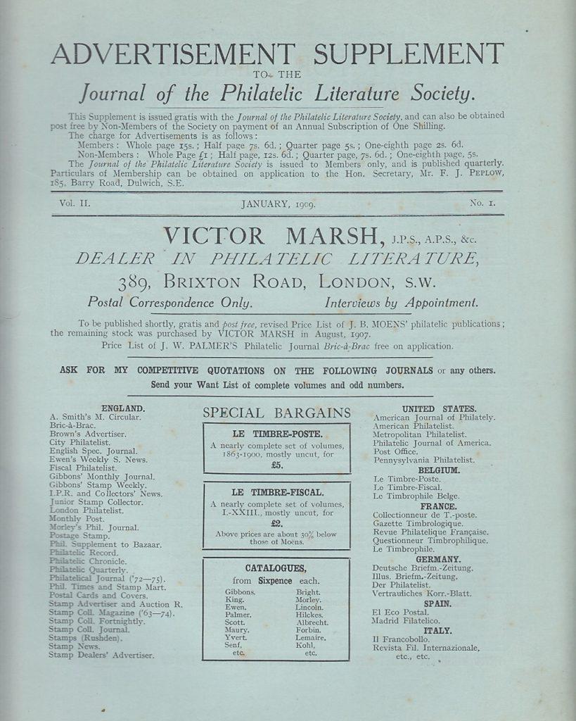 Journal Journal of the Philatelic Literature Society Victor Marsh Vol II