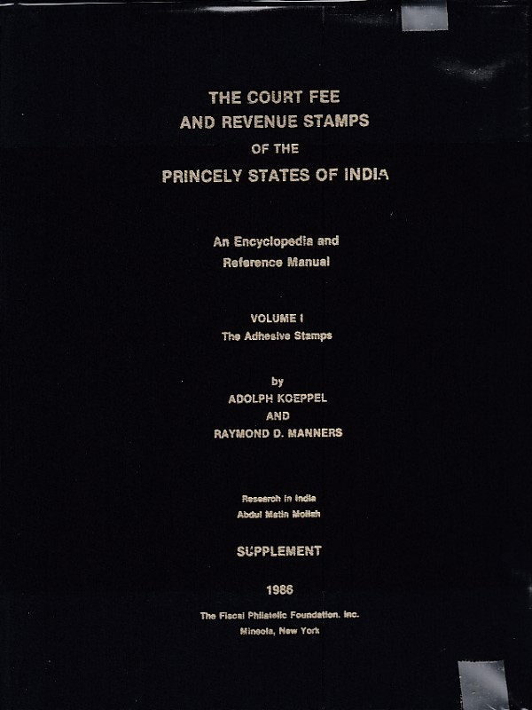 Revenues Court Fee Princely States India Koeppel Manners Vol 1 Supplement